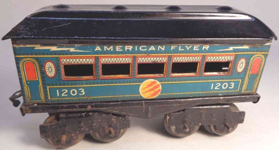 american flyer toy company 1203 railway toy pullman car blue gauge 0