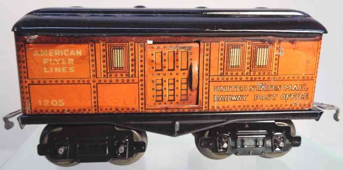 american flyer toy company 1205 railway toy baggage car orange black gauge 0