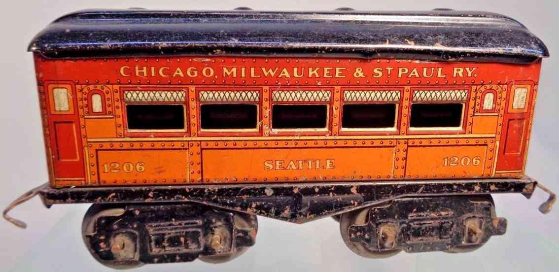 american flyer toy company 1206 railway toy seattle pullman car gauge 0
