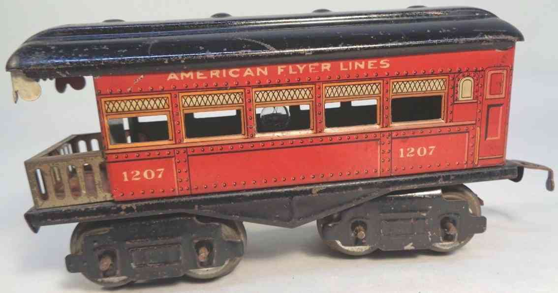 american flyer toy company 1207 railway toy observation car red black gauge 0