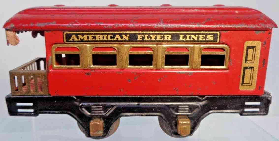 american flyer toy company 1212 railway toy observation car metal red gauge 0