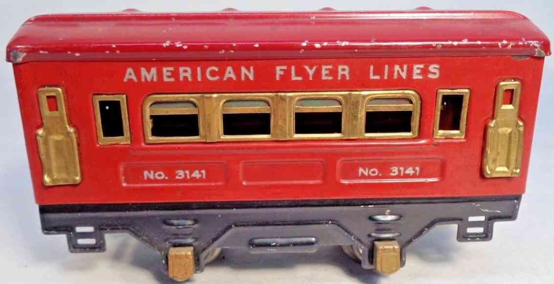 american flyer toy company 3141 railway toy pullman car red brass gauge 0