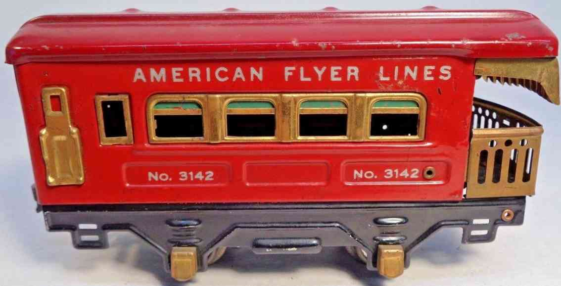 american flyer toy company 3142 railway toy observation car red brass gauge 0