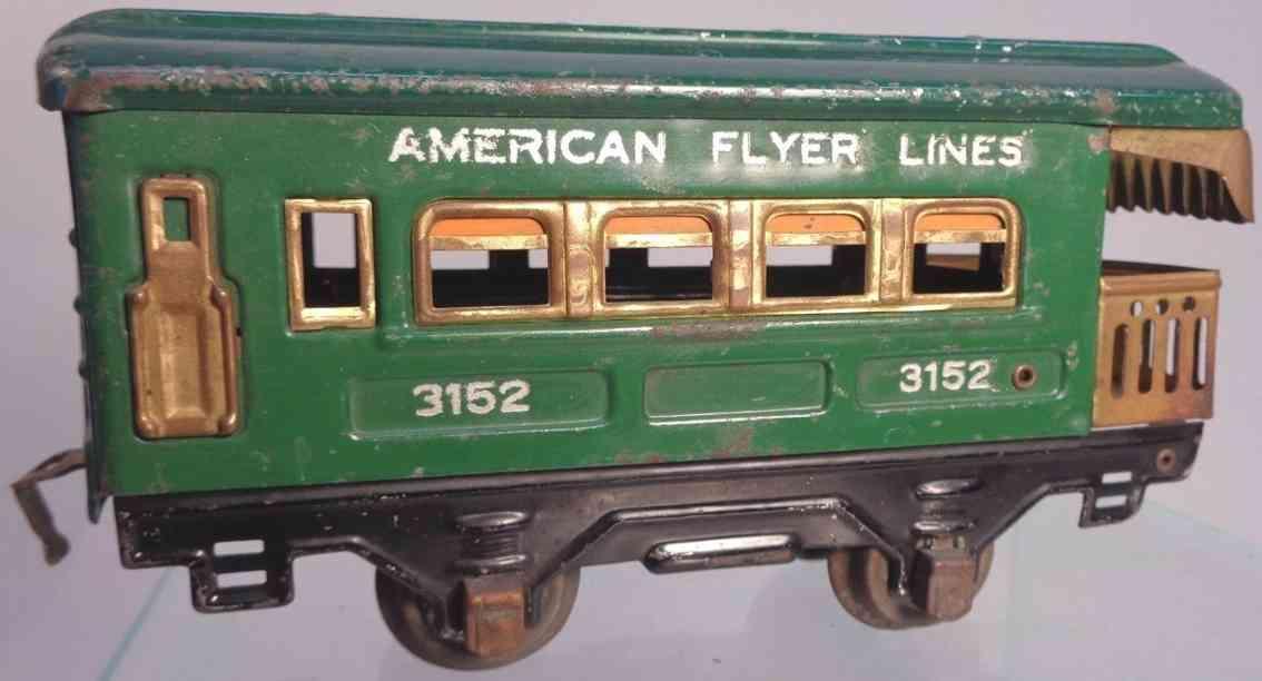 american flyer toy company 3152 spielzeug eisenbahn aussichtswagen gruen spur 0