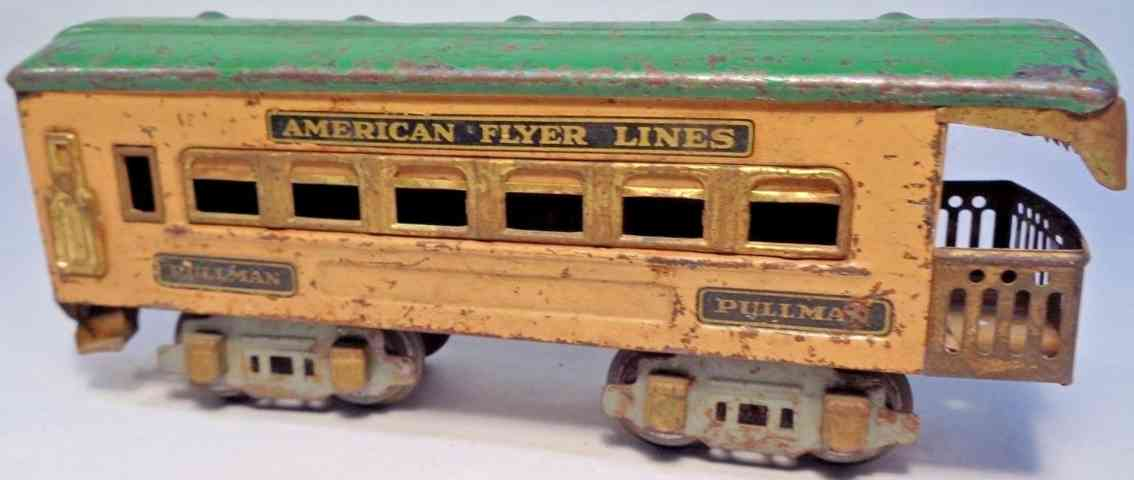 american flyer toy company 3172 railway toy observation car tan green gague 0