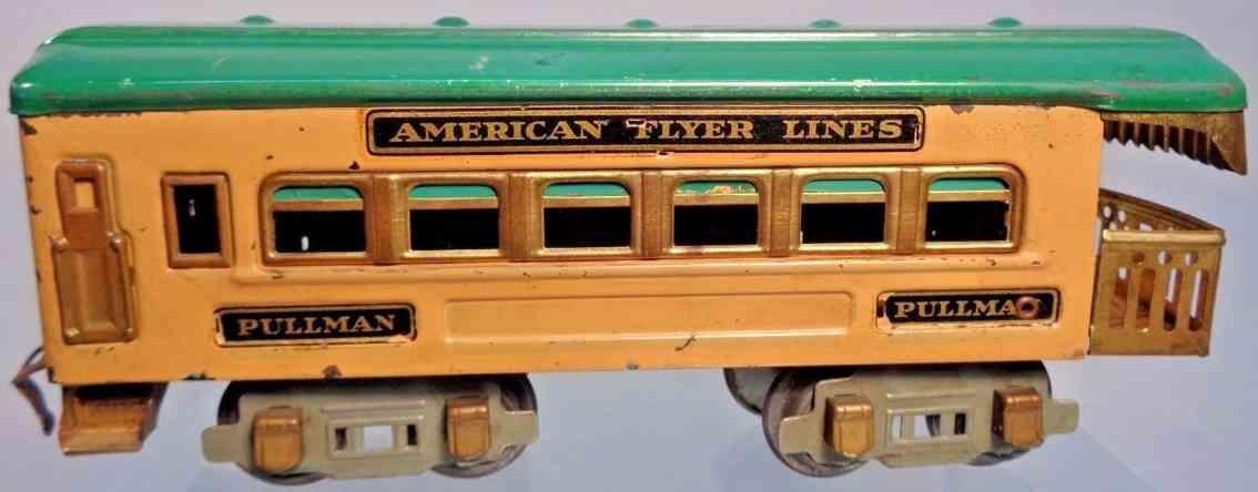 american flyer toy company 3177 railway  observation car tan green gauge 0