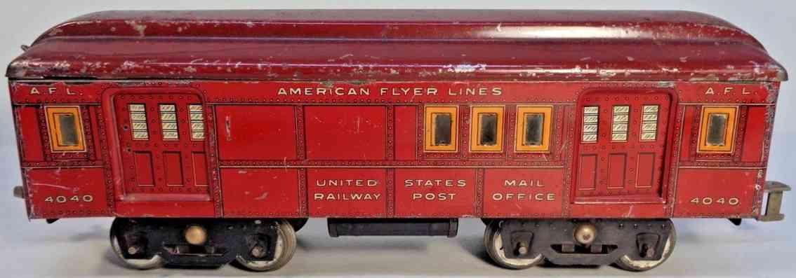 american flyer toy company 4040 rpo baggage car maroon orange wide gauge