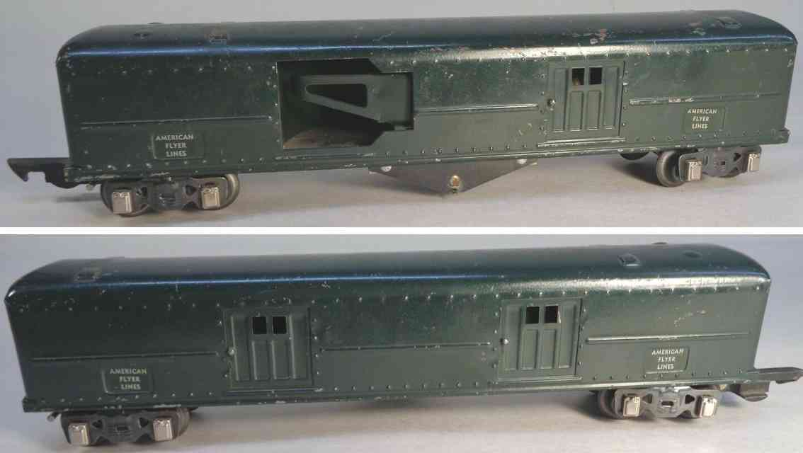 american flyer toy company 492 railway toy baggage car dark green gauge 0