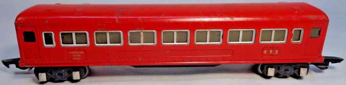 american flyer 495 railway toy passenger car light red silver gauge 0