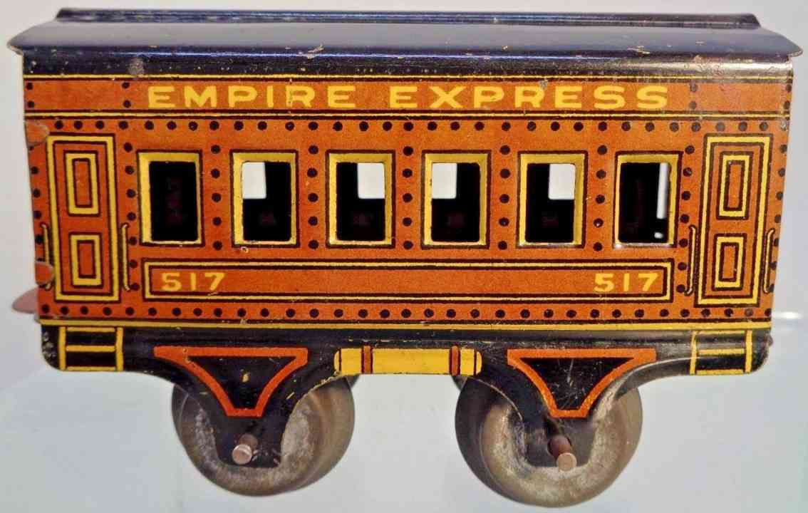 american flyer toy company 517 empire express pullman car brown black gauge 0