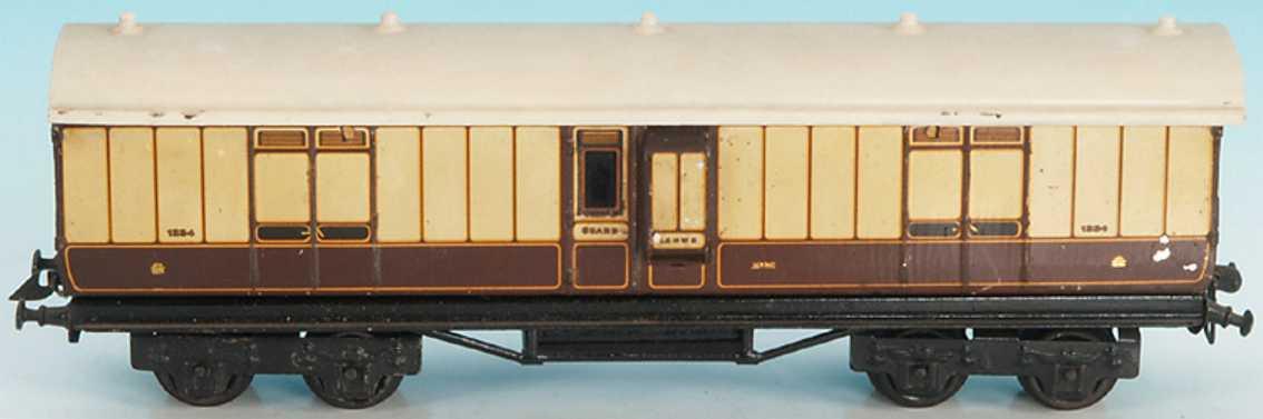 basset-lowke spielzeug eisenbahn personenwagen englischer packwagen von bing für bassett lowke hergestellt;