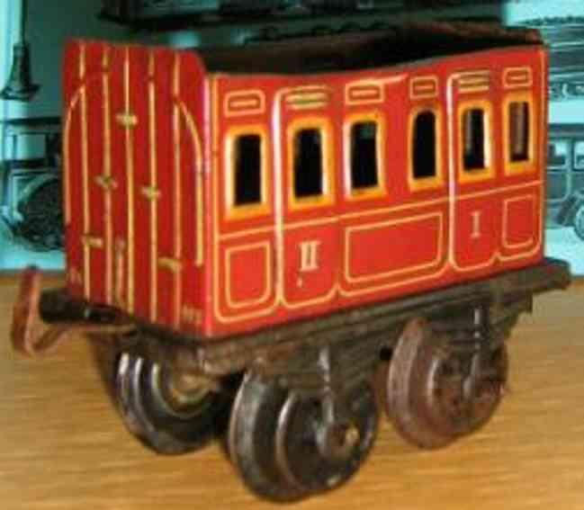 bing 10/51 (10154) spielzeug eisenbahn personenwagen personenwagen; 2-achsig; braun chromlithografiert ohne puffe