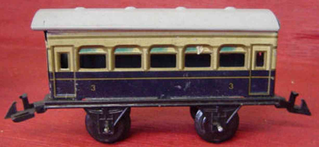 bing 10/5129 railway toy passenger car blue cream gauge 0