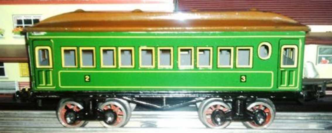 bing 10/523 spielzeug eisenbahn personenwagen personenwagen; 4-achsig mit 2-achsigen drehgestellen; grün c