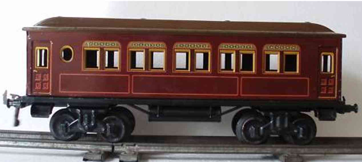 bing 10/523/1 railway toy passenger car brown gauge 1