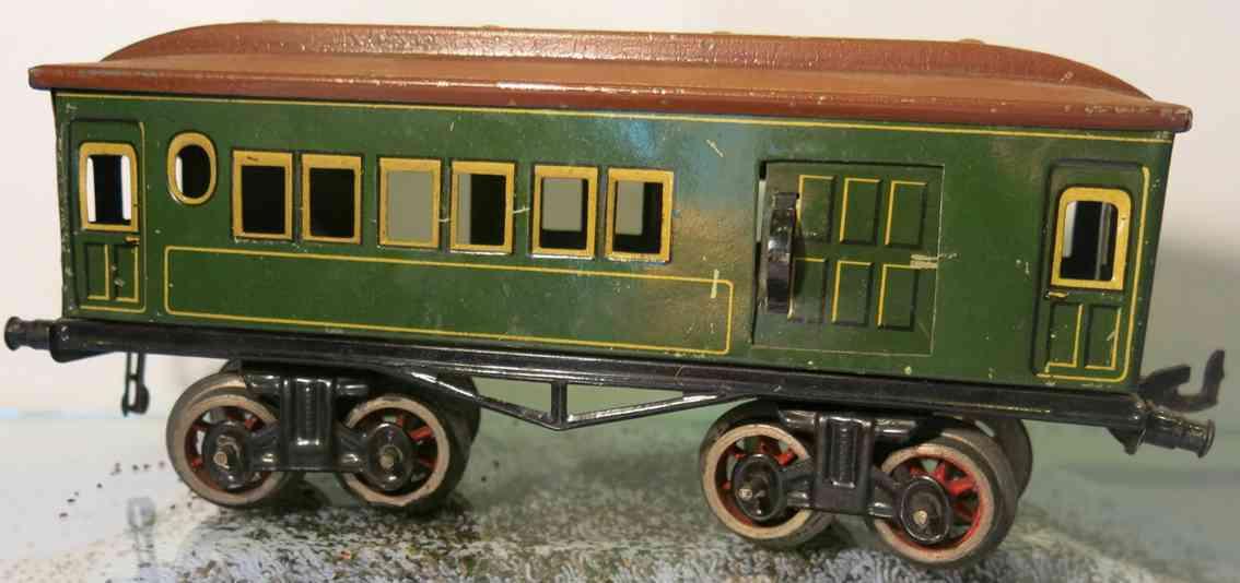 bing 10/524 (10528) spielzeug eisenbahn personenwagen personen- und gepäckwagen 4-achsig grün chromlithografiert,