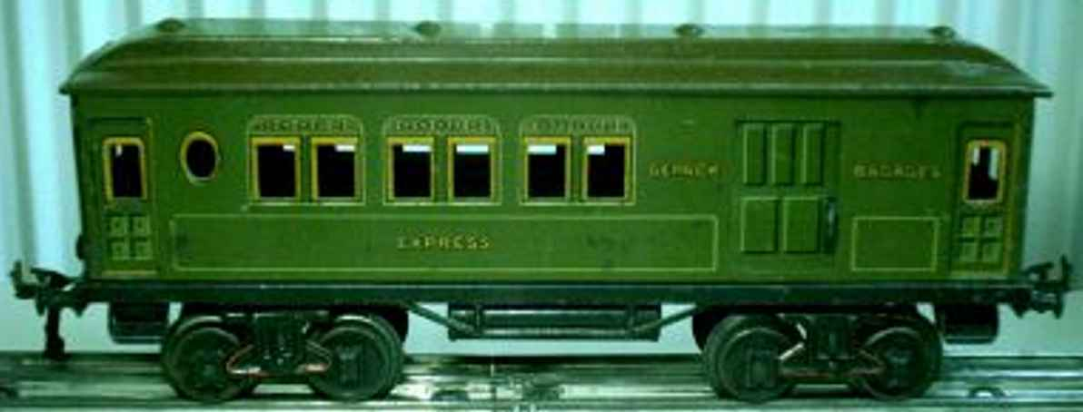 bing 10/524 spielzeug eisenbahn personenwagen personen- und gepäckwagen; 4-achsig; grün chromlithografiert