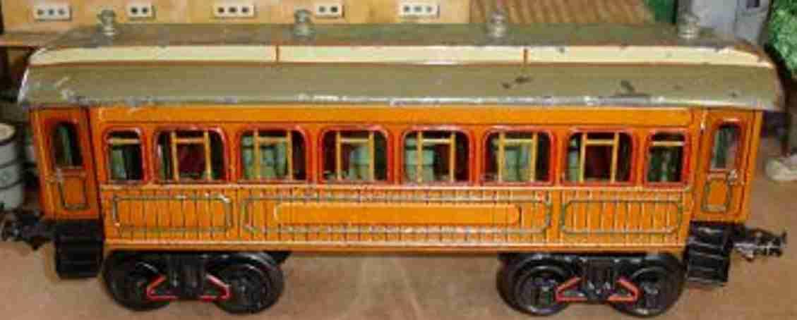 bing 10/532 (13552) (10240 spielzeug eisenbahn personenwagen salonwagen; 2-achsig; teak hellbraune holzmaserung chromlith