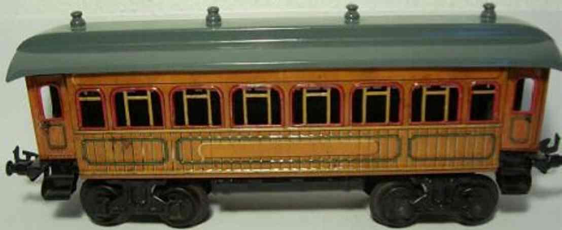 bing 10/533 spielzeug eisenbahn personenwagen speisewagen; 4-achsig; teakbraun chromlithografiert, 4 türen