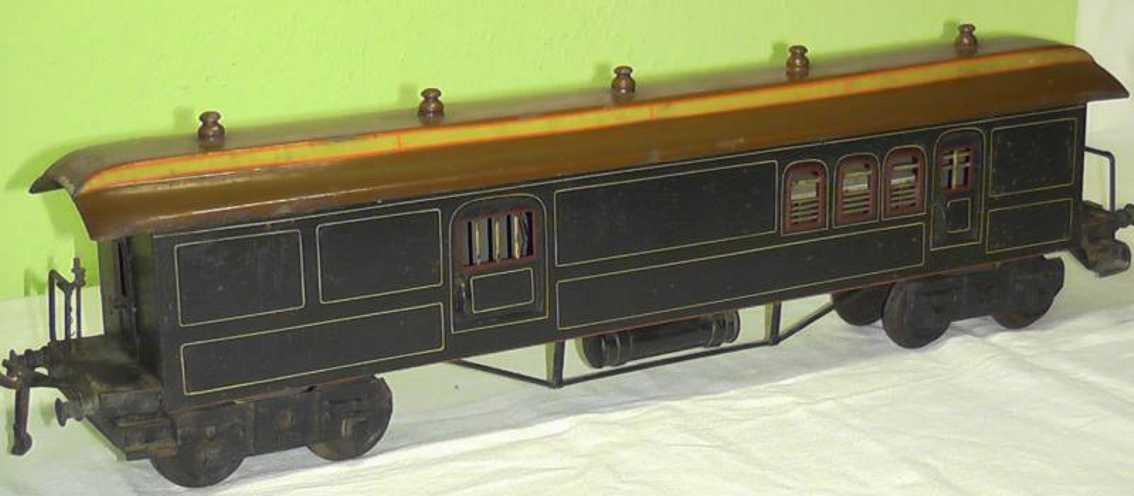bing 10/540 spielzeug eisenbahn personenwagen post- und packwagen 4-achsig dunkelblau handlackiert, 2 türe