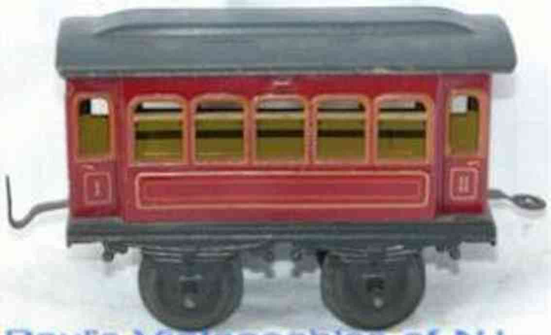 bing 10/55 railway toy passenger car red gauge 1