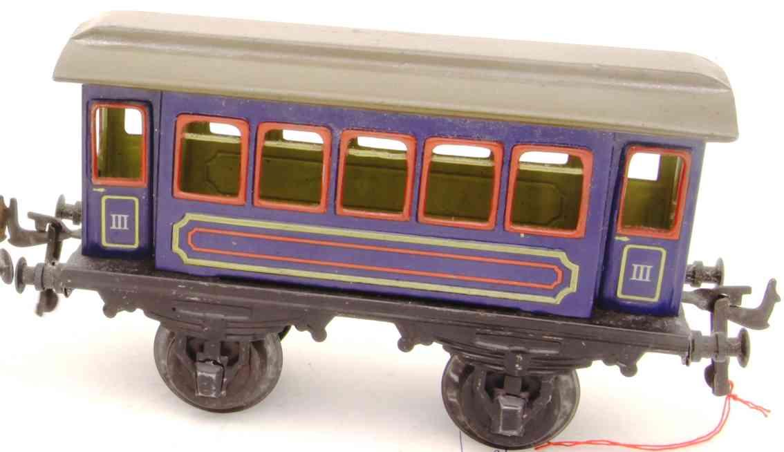 bing 10/55 III railway toy passenger car in blue gauge 1