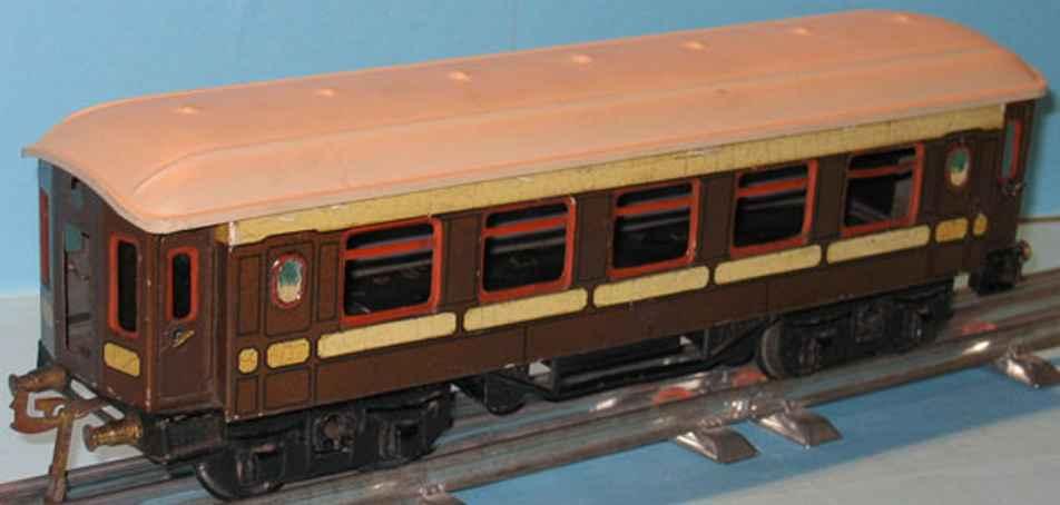 bing 10/557 spielzeug eisenbahn personenwagen personenwagen; 4-achsig; braun chromlithografiert, 4 türen z