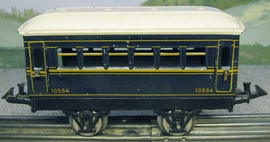 bing spielzeug eisenbahn personenwagen personenwagen; 2-achsig; blau lithografiert, dach mit 4 imit