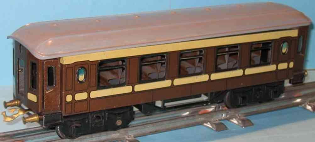 bing 10/571 spielzeug eisenbahn personenwagen personenwagen; 4-achsig; braun handlackiert, 4 türen zum öff