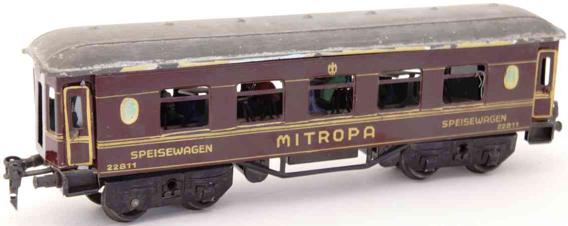 bing 10/571 1928 railway toy dining car mitropa red gauge 0