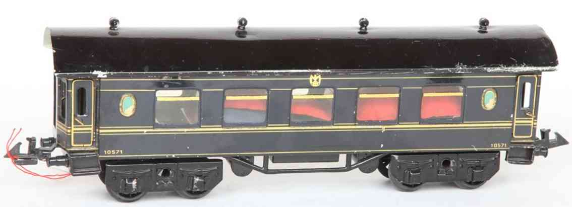 bing 10/572 spielzeug eisenbahn personenwagen schlafwagen mit inneneinrichtung in blau handlackiert; 4-ach