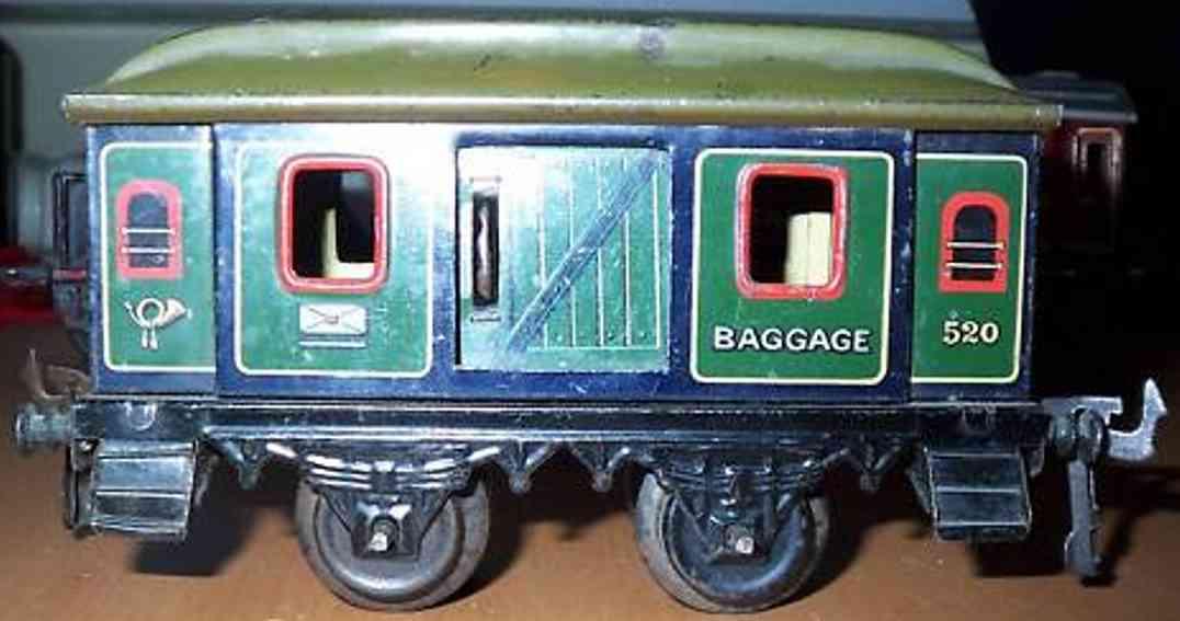 bing 10/58 spielzeug eisenbahn personenwagen gepäckwagen; 2-achsig; grün chromlithografiert, mit puffer u