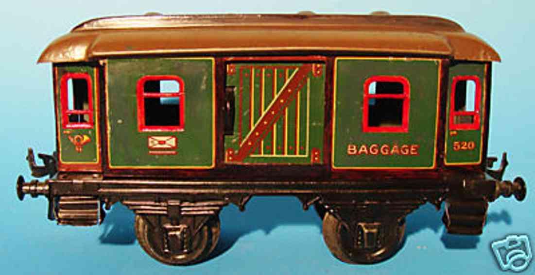 bing 10/58/1 spielzeug eisenbahn personenwagen gepäckwagen; 2-achsig; grün und schwarz chromlithografiert m