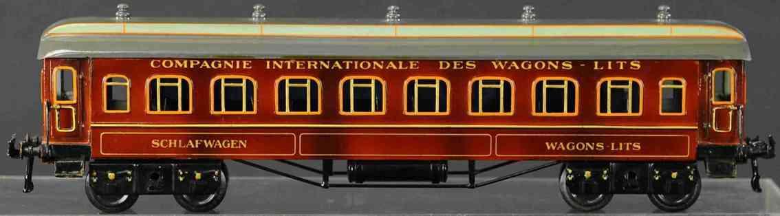 bing 10228 railway toy french sleeping car teak brown gauge 1
