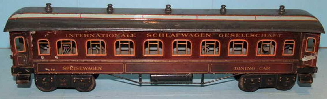 bing 10286 spielzeug eisenbahn personenwagen speisewagen; 4-achsig, rotbraun handlackiert, 4 türen zum öf