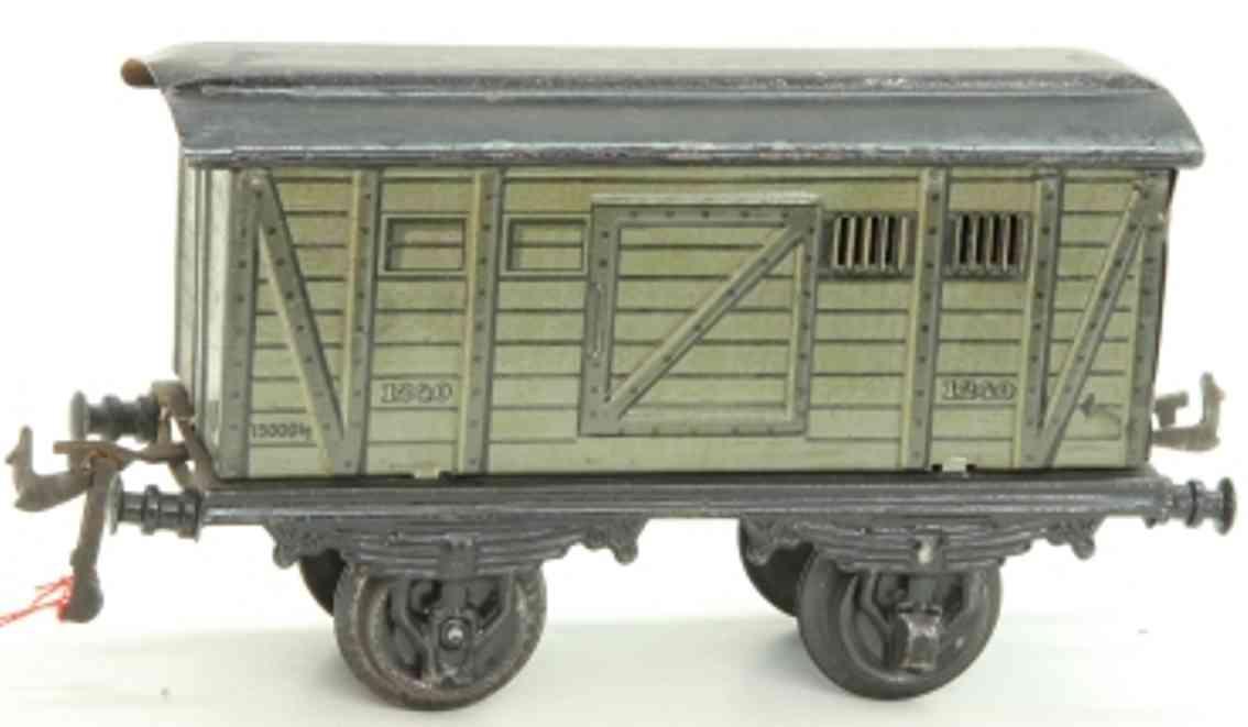 bing 10328 spielzeug eisenbahn personenwagen gepäckwagen; 2-achsig; lithografiert in grau-olive