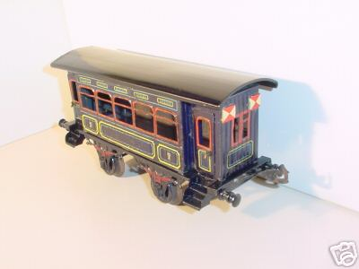bing 10366/1 spielzeug eisenbahn personenwagen personenwagen; 2-achsig; blau chromlithografiert mit 4 angel