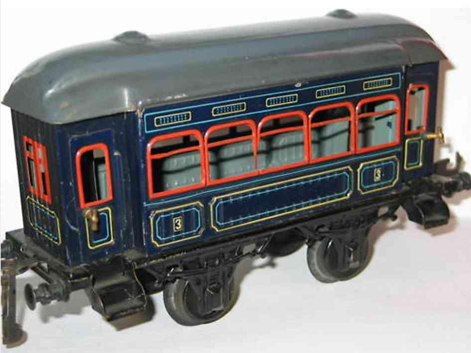 bing 10366 spielzeug eisenbahn personenwagen personenwagen; 2-achsig, blau lithographiert