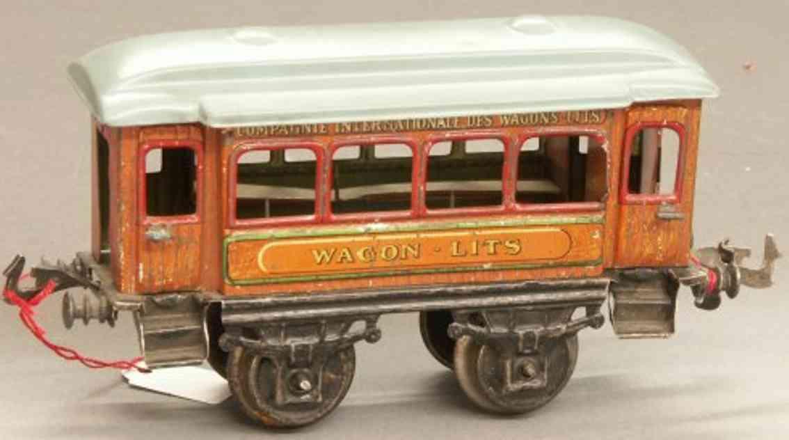 bing 10391 spielzeug eisenbahn personenwagen schlafwagen; 2-achsig, teak lithografiert, mit inneneinricht