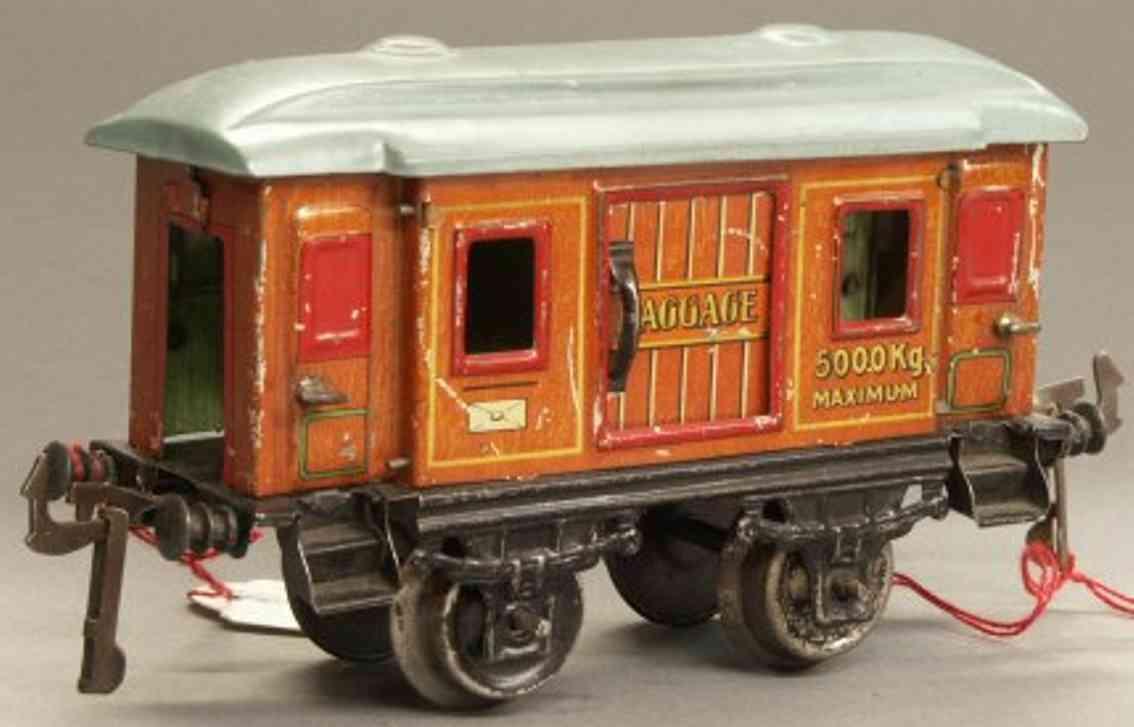 bing 10392 spielzeug eisenbahn personenwagen gepäckwagen; 2-achsig; teak lithografiert, mit inneneinricht