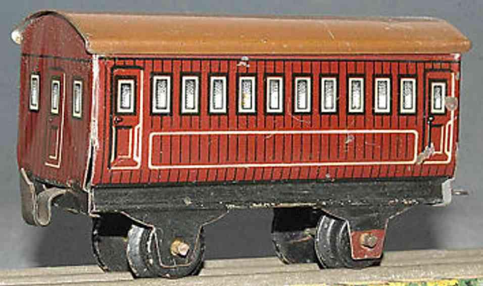 bing 11/923/4 spielzeug eisenbahn amerikansicher personenwagen braun spur 0