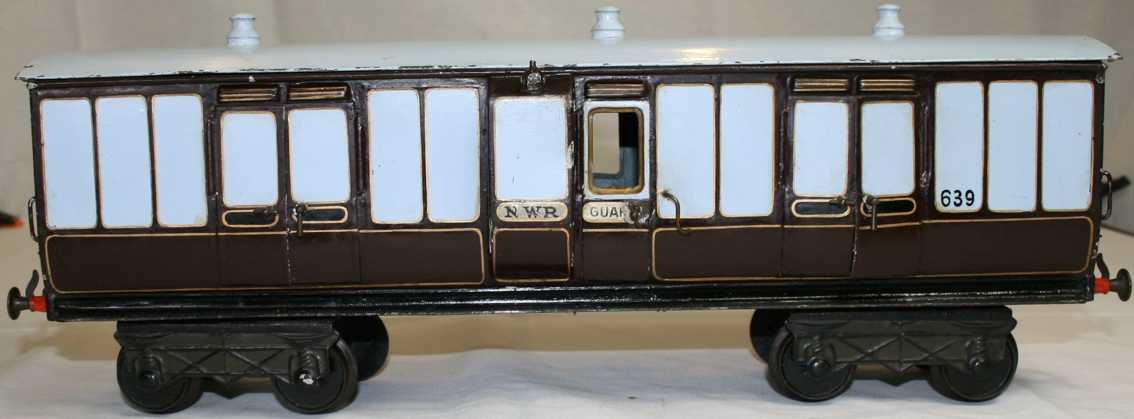 bing 13350/4 lnwr railway toy passenger car cream brown gauge 4