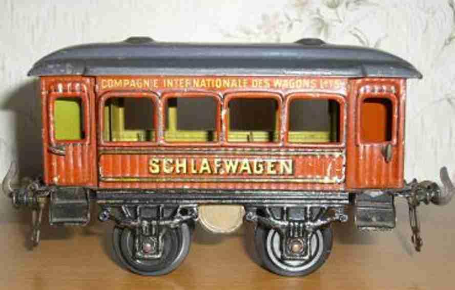 bing 13536/0 spielzeug eisenbahn schlafwagen teakbraun spur 0