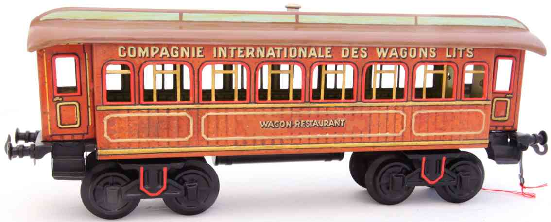 bing 13556/1 france railway toy dining car teak-brown gauge 1