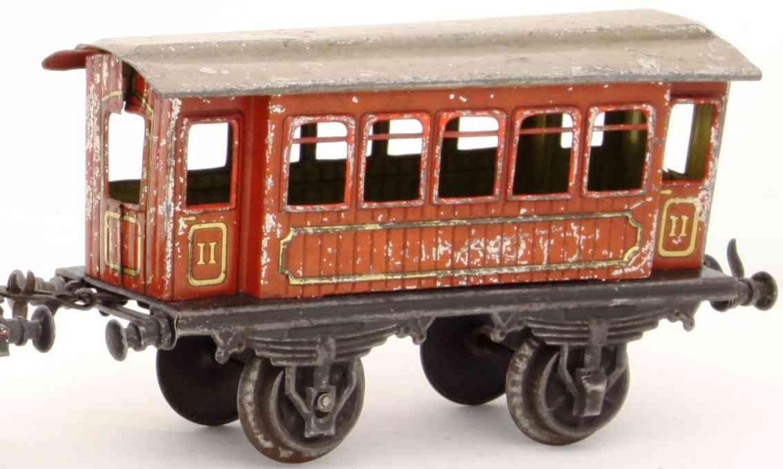 bing 13754 railway toy passenger car teak-brown gauge 0