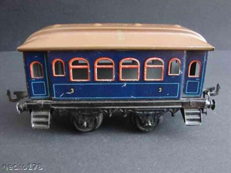 bing spielzeug eisenbahn personenwagen blau spur 1