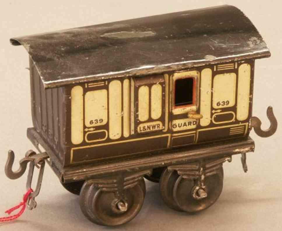 bing 22893 spielzeug eisenbahn englischer gepaeckwagen braun beige spur 0