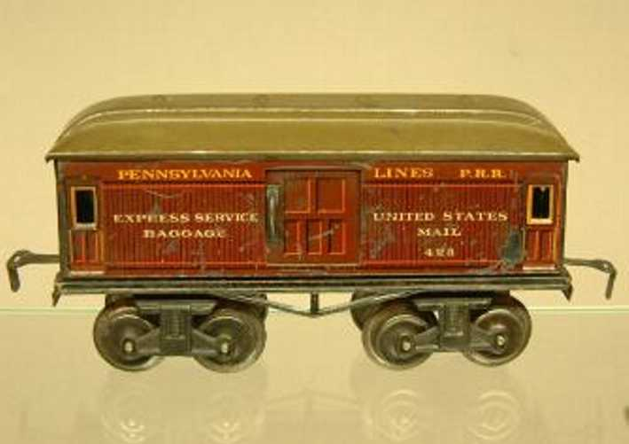 bing 525/25 pennsylvania spielzeug eisenbahn gepaeckwagen gruen rotbraun spur 0