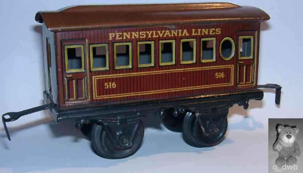 bing 528/23 spielzeug eisenbahn amerikanischer personenwagen rotbraun spur 0