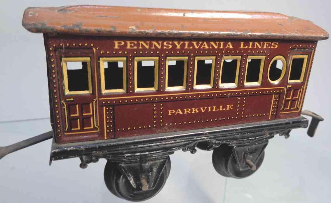 bing 528/23 parkville eisenbahn amerikanischer personenwagen kastanienbraun spur 0